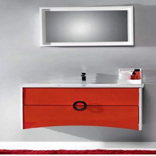 meuble de salle de bain primo 100 rouge carrelages. Black Bedroom Furniture Sets. Home Design Ideas